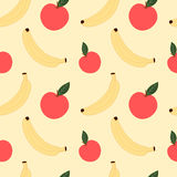 Banana and apple seamless pattern background illustration Stock Image