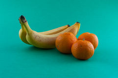 Banana, apple and tangerine. Isolated Stock Photography