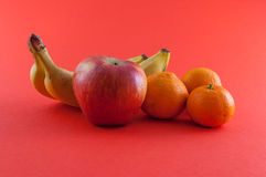 Banana, apple and tangerine. Isolated Royalty Free Stock Image