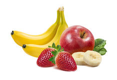 Banana, apples and strawberry 2  on white background Royalty Free Stock Images