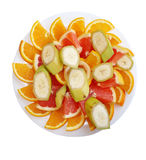 Banana arancio e pompelmo affettati Fotografia Stock
