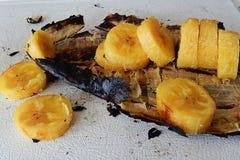 Banana arrostita col barbecue casalinga fotografia stock libera da diritti
