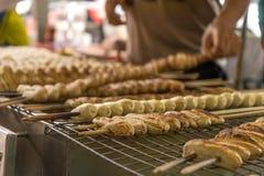 Banana arrostita sulla via della Tailandia fotografie stock libere da diritti