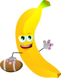 Banana as American football player Stock Photography