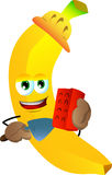 Banana as bricklayer with brick and trowel Stock Image