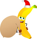 Banana as Santa Claus with a big sack Stock Photos
