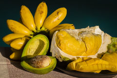 Banana, avocado, durian and mango on the table Stock Image
