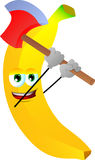 Banana with an axe Stock Photography