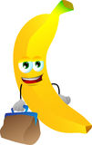 Banana with bag Stock Images