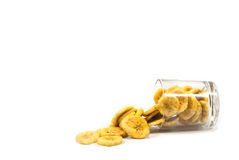 Banana with banana chips isolated Royalty Free Stock Images