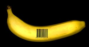 Banana with barcode Stock Photos