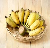 Banana. In the basket on wooden  background Stock Images