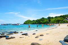 Banana beach on Coral Ko He island on a sunny day stock photography