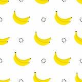banana bezszwowy deseniowy Banany z okręgami w 80s stylu, tekstylna grafika Fotografia Stock