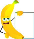 Banana with blank board Royalty Free Stock Photos