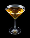 Banana bliss cocktail. Consisting of Cognac and creme de bananas. Isolated on black background Stock Photo