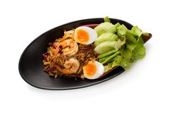 Free Banana Blossom Salad And Shrimp With Boiled Egg On Whit Stock Photos - 106427343