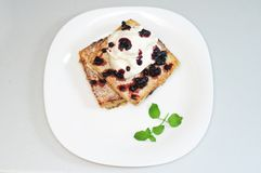 Banana and blueberries sandwich Stock Image