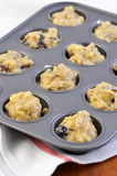 Banana blueberry muffin dough Stock Photo