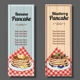 Banana blueberry pancake vertical banner. Additional file in eps 10 vector illustration