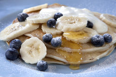 Banana and Blueberry Pancakes stock photo