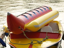 Banana & boat. Banana boat resting on the top of a speedboat Stock Images