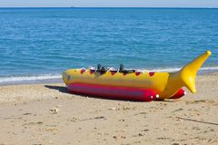 Banana boat as shark Royalty Free Stock Photos