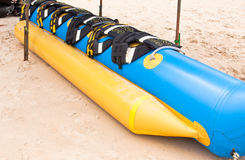 Banana boat on beach Stock Images