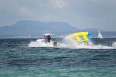 Banana boat. By the coast of Mediterranean sea, Mallorca, Spain Stock Photo
