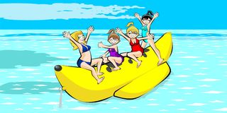 Banana boat group of friends having fun on summer vacation Stock Photography