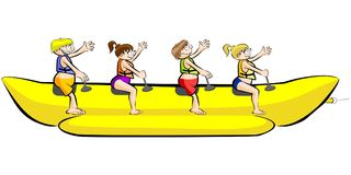 Banana boat group of friends having fun on summer vacation - iso Royalty Free Stock Photography