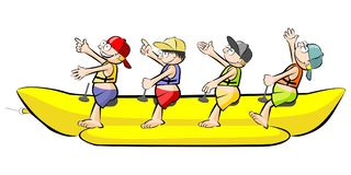 Banana boat group of friends having fun on summer vacation - iso Stock Images