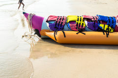 Banana boat lays on a beach Stock Image