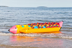 Banana boat with life jacket Royalty Free Stock Photos