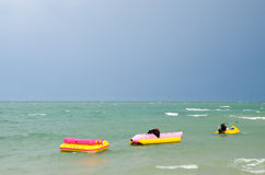 Banana boat. And scooter in the sea Stock Image