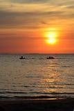 Banana Boat at Sunrise. Banana boat at tropical beach Royalty Free Stock Images