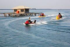 Banana Boating at Tidung Island Royalty Free Stock Photo
