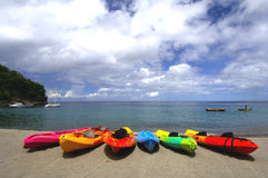 Banana boats on beach Royalty Free Stock Images
