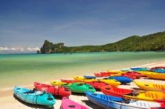 Phi Phi Island, Phuket, thailand. Banana boats at Phi Phi Island, Thailand stock photos