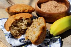 Banana bran muffins. In the sun Royalty Free Stock Image