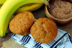 Banana bran muffins. On wood Royalty Free Stock Images