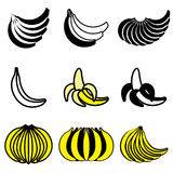 Banana branch icons Royalty Free Stock Image