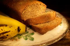 Banana bread. On plate and ready to serve Stock Image