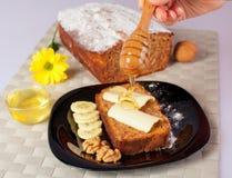 Banana bread. With honey and walnuts royalty free stock photo