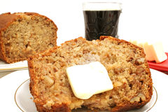 Banana bread breakfast. Shot of banana bread breakfast Stock Photography