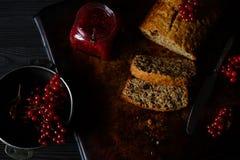 Banana bread cake with raspberry jam Stock Photos
