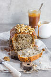 Banana bread cake with walnuts and salted caramel Royalty Free Stock Photography
