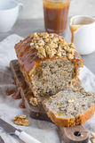 Banana bread cake with walnuts and salted caramel Stock Photos