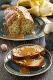 Banana bread with caramel sauce Stock Photo