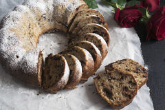 Banana bread with chocolate chips. Baked in a cake pan Royalty Free Stock Photo